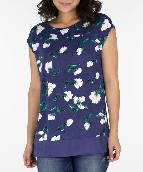 Extended Sleeve Woven Trim Top, Indigo/Pearl/Emerald, hi-res