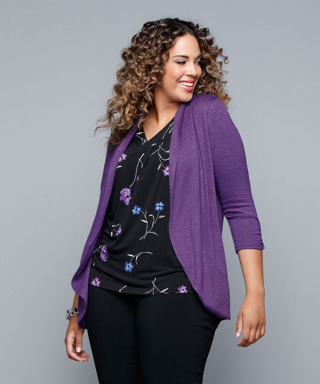 Shawl Collar Cardigan, Royal Purple, hi-res