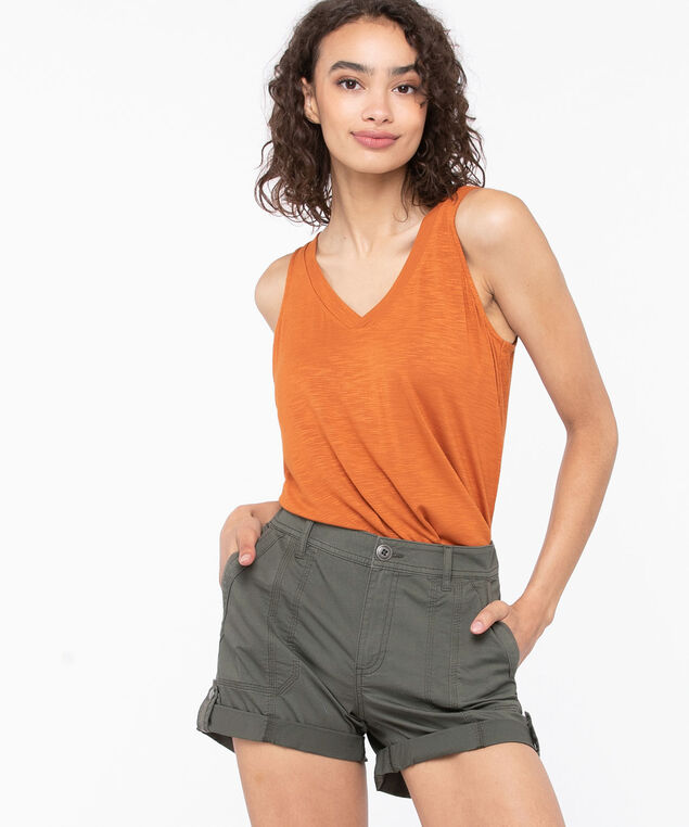 Sleeveless V-Neck Tank Top, Cayenne, hi-res
