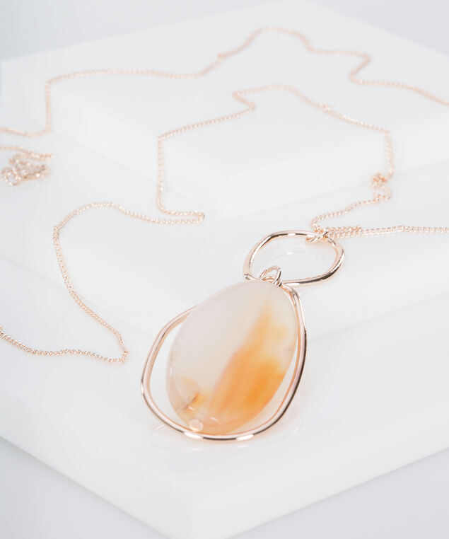 Natural Stone & Ring Pendant Necklace, Rose Gold/Tangerine/Milkshake, hi-res