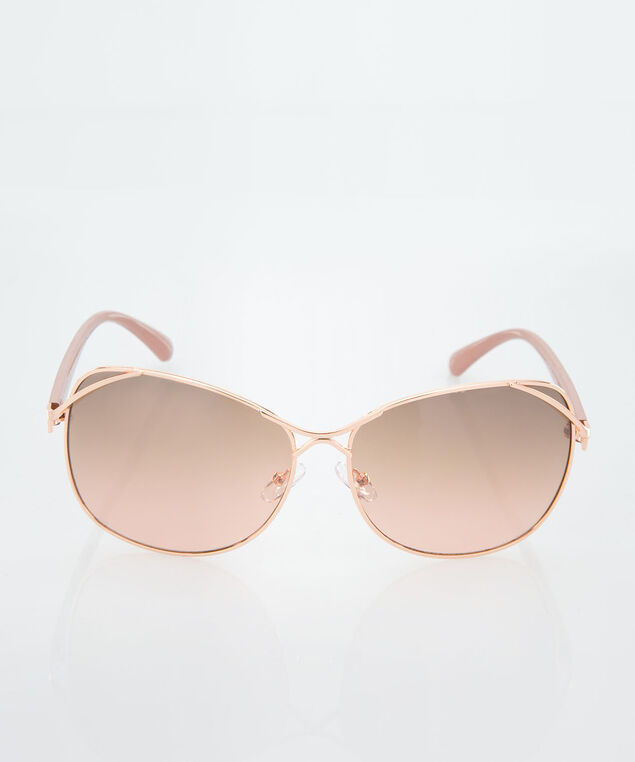 Square Gold Metal Sunglasses, Blush/Gold, hi-res