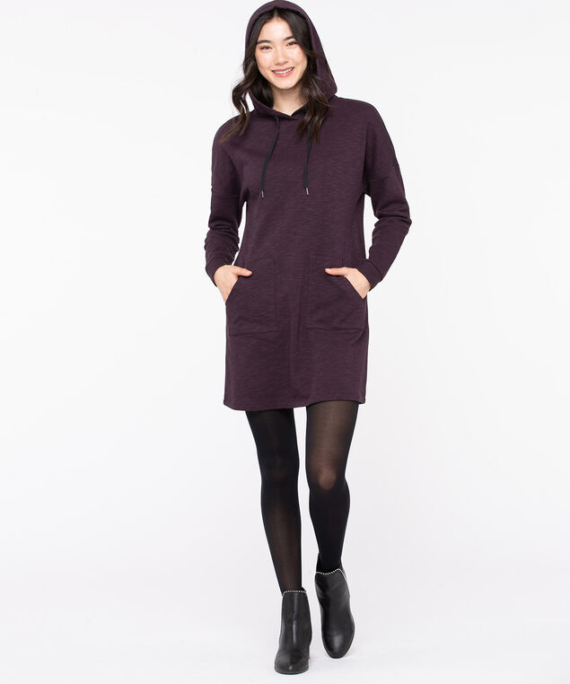 Hooded Sweatshirt Tunic Dress, Deep Purple, hi-res