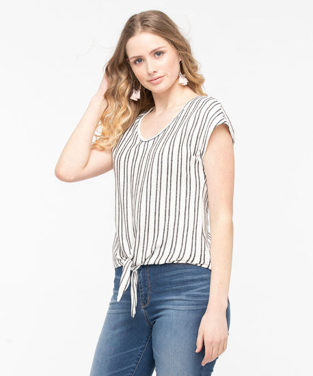 Extended Sleeve Tie Front Top, Black/Pearl, hi-res