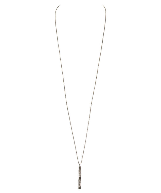 Linear Crystal Pendant Necklace, Clear/Rhodium, hi-res