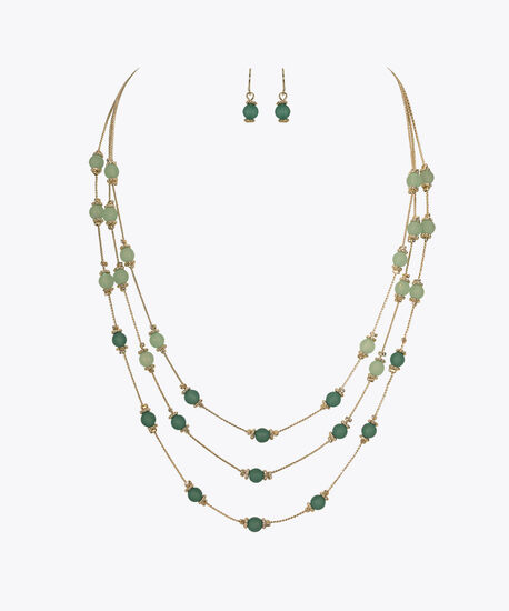 Stationed Bead Necklace Set, Green/Soft Gold, hi-res