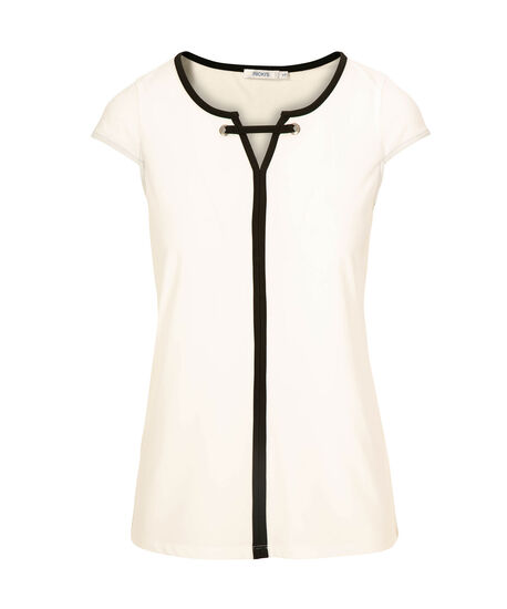 Extended Sleeve Knit Top, Pearl/Black, hi-res