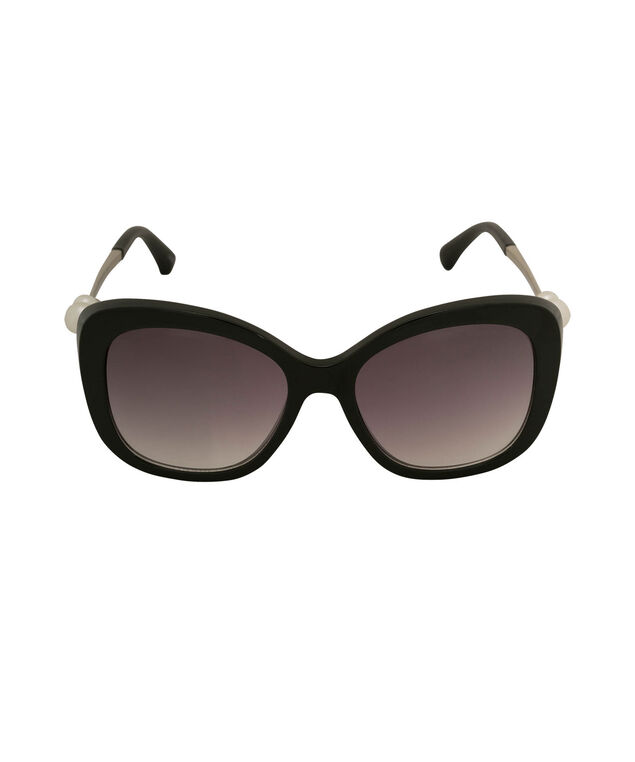 Pearl Embellished Cateye Sunglasses, Black/White/Silver, hi-res