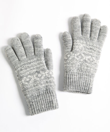 Fair Isle Chenille Lined Gloves, Grey/Pearl, hi-res