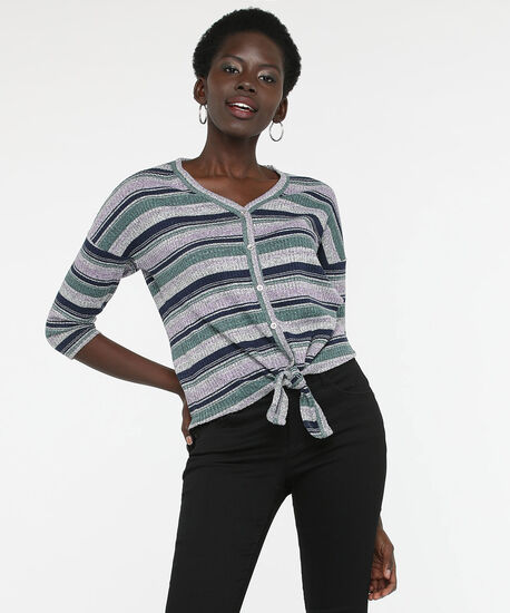 Tie Waist Waffle Knit Top, Light Heather Grey/Pine/Summer Navy, hi-res