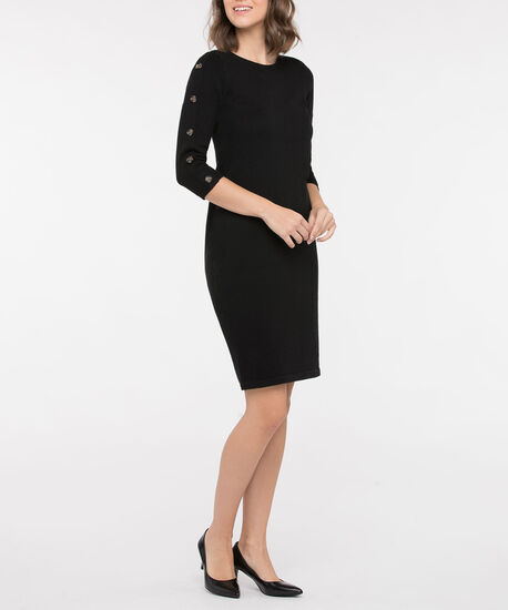 Long Sleeve Button Detail Sweater Dress, Black, hi-res
