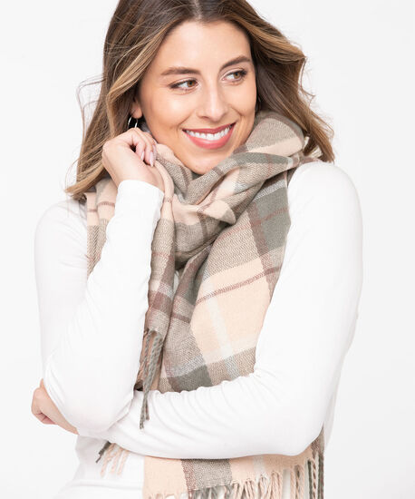 Pink Plaid Blanket Scarf, Soft Blush/Grey, hi-res