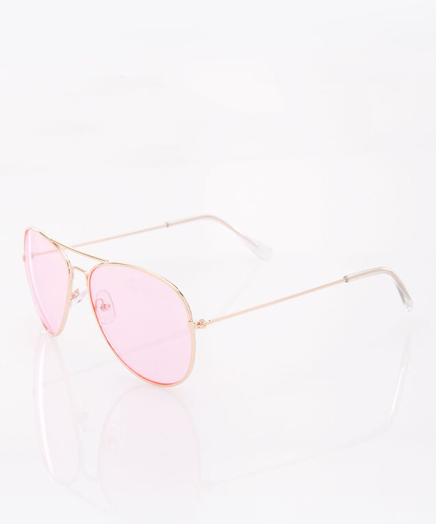 Pink Aviator Sunglasses, Gold/Pink, hi-res