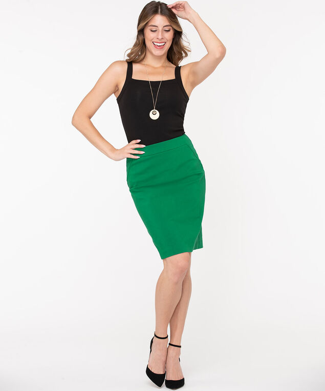 Microtwill Pull on Pencil Skirt, Kelly Green, hi-res