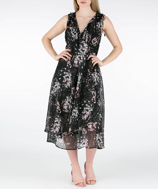 Sleeveless Chiffon Tulip Hem Dress, Black/Pearl/Pink, hi-res