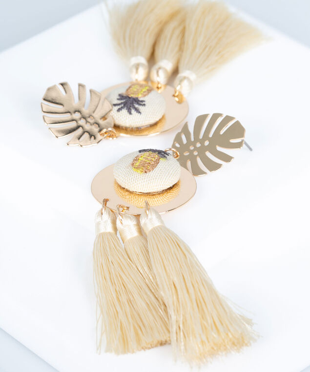 Pineapple Tropical Tassel Earring, Cream/Gold, hi-res