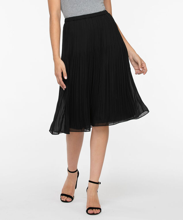 Release Pleat Pull On Skirt, Black, hi-res
