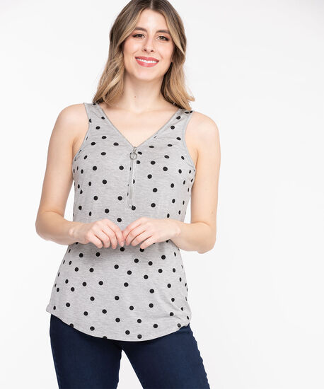 Sleeveless Zip Front Double-V Top, Grey/Black Dot, hi-res