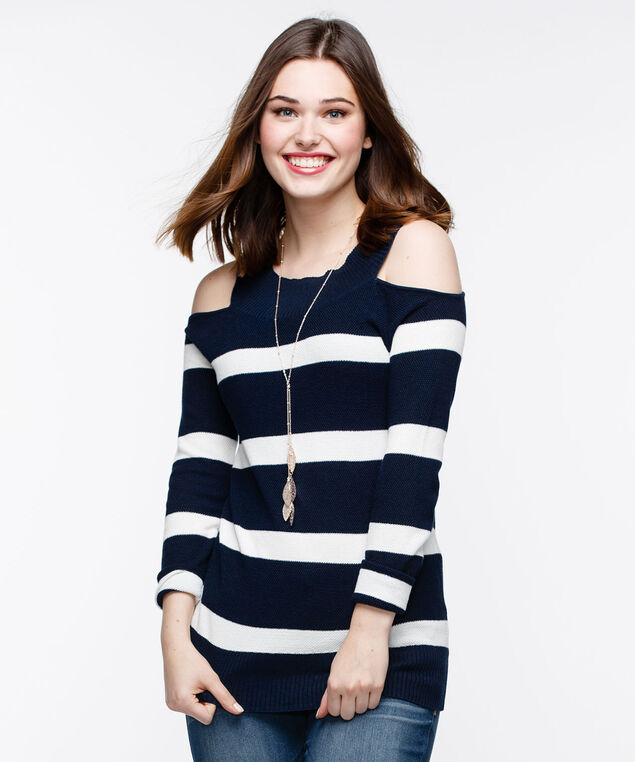Cold Shoulder Pullover Sweater, Deep Sapphire/Pearl, hi-res
