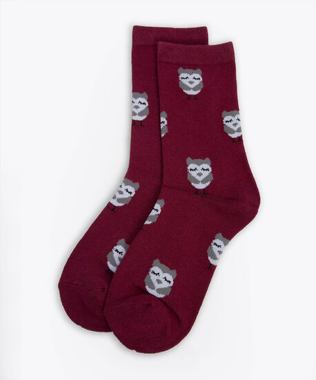 Owl Print Socks, Burgundy/Grey, hi-res