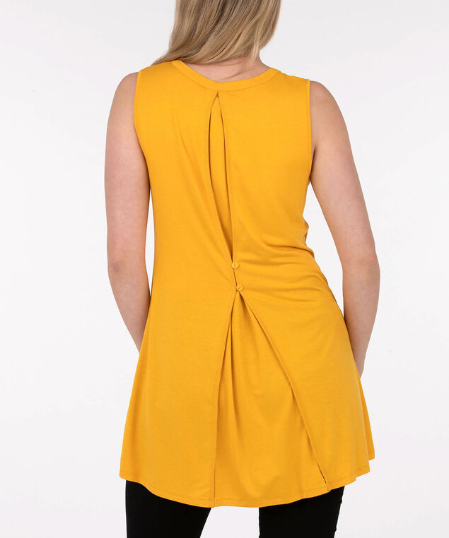 Sleeveless Button Back Detail Top, Yellow, hi-res