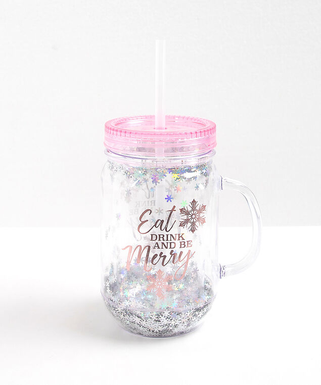 BE MERRY PINK MASON JAR MUG, Pink/White, hi-res