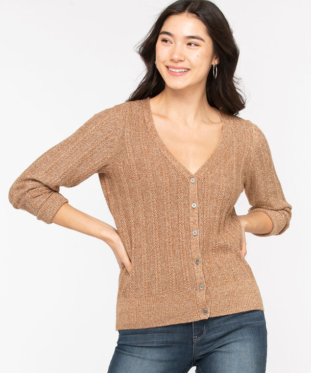 V-Neck Button Front Cardigan, Brown