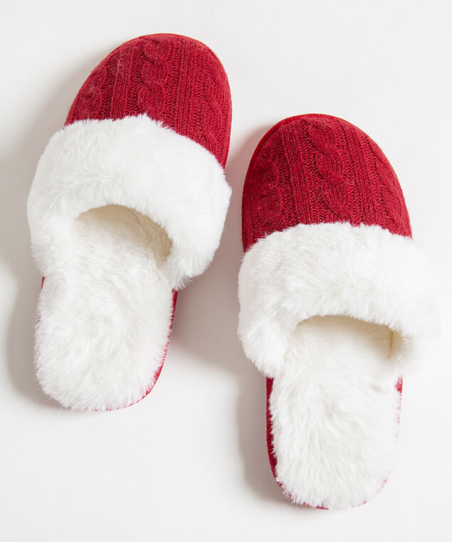 Red Cable Knit Slippers, Red/Pearl