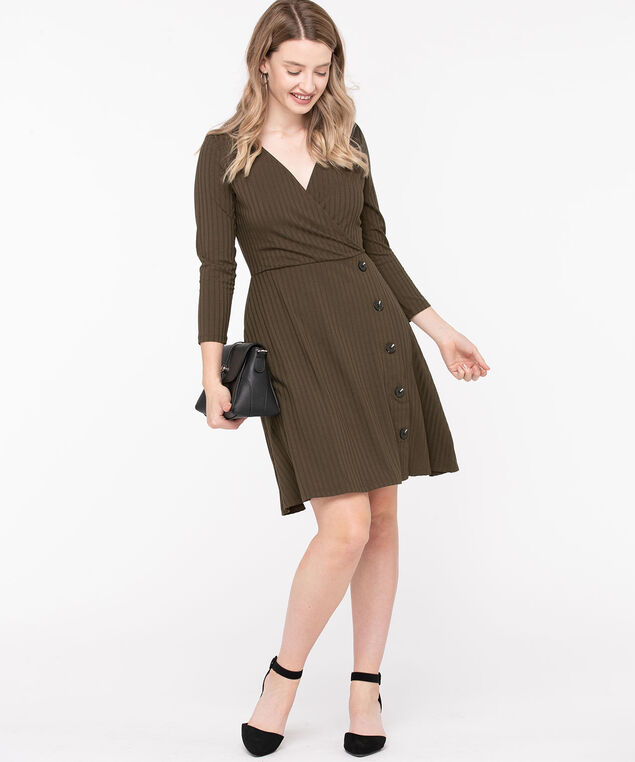 Ribbed Button Trim Wrap Dress, Silver Olive, hi-res