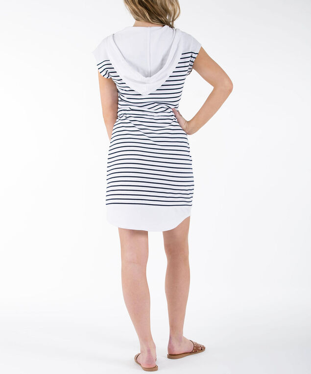 Hooded Beach Cover-Up, White/Deep Sapphire, hi-res