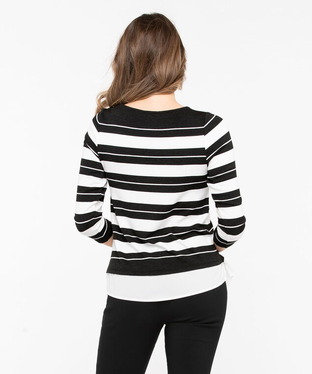 Textured Knit Fooler Hem Top, Black/Pearl, hi-res