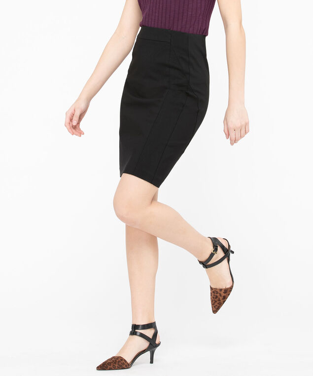 Microtwill Pull on Pencil Skirt , Black, hi-res