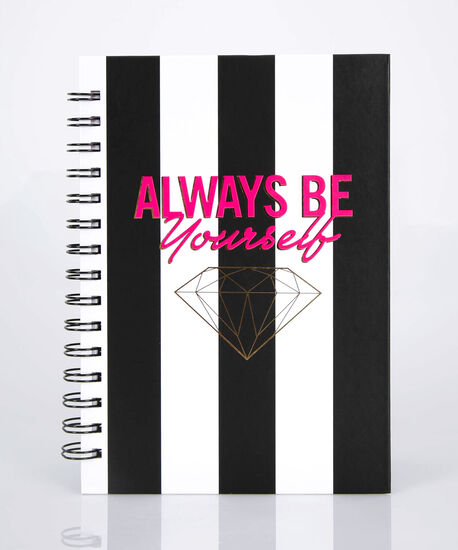 Always Be Yourself Spiral Notebook, True White/Black/Bright Pink, hi-res
