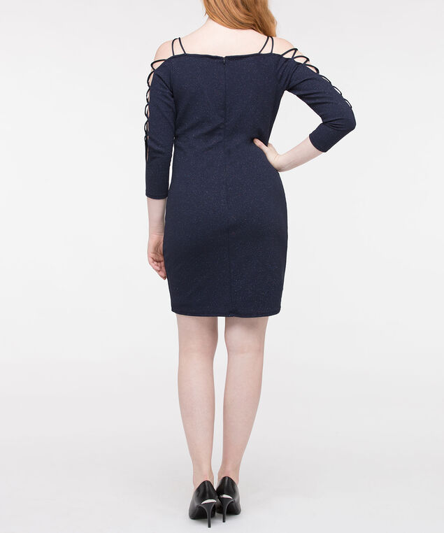 Criss Cross Cage Sleeve Dress, True Navy, hi-res