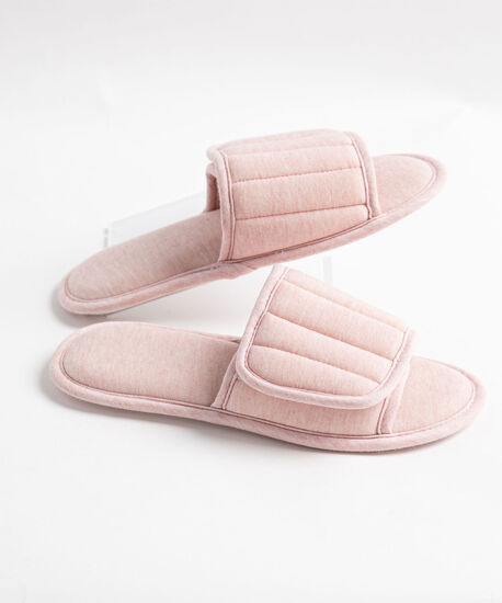Padded Velcro Terry Slipper, Pink, hi-res