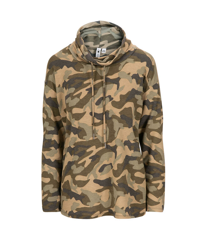 Camo Funnel Neck Pullover, Olive Mix, hi-res