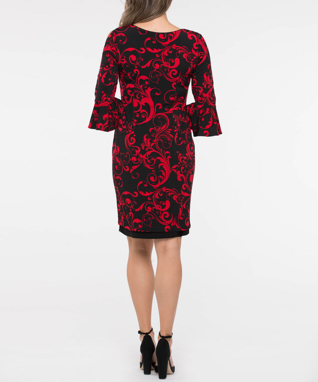 Metal Detail Flounce Sleeve Reversible Dress, Crimson/Black, hi-res