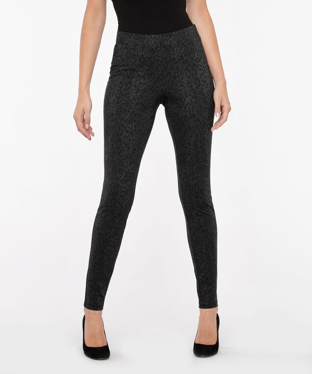 Patterned Pull On Ponte Legging, Grey/Black, hi-res