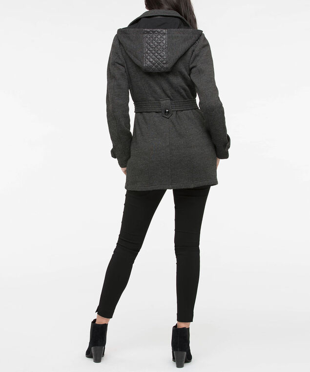 Belted Asymetrical Zipper Closure Jacket, Black mix, hi-res