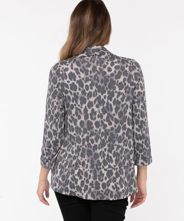 Terry Shawl Collar Cover Up, Charcoal/Light Grey, hi-res