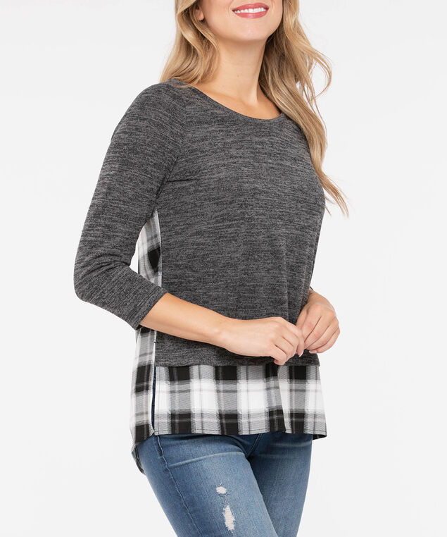 Lightweight Knit Fooler Top, Heathered Charcoal/Pearl, hi-res