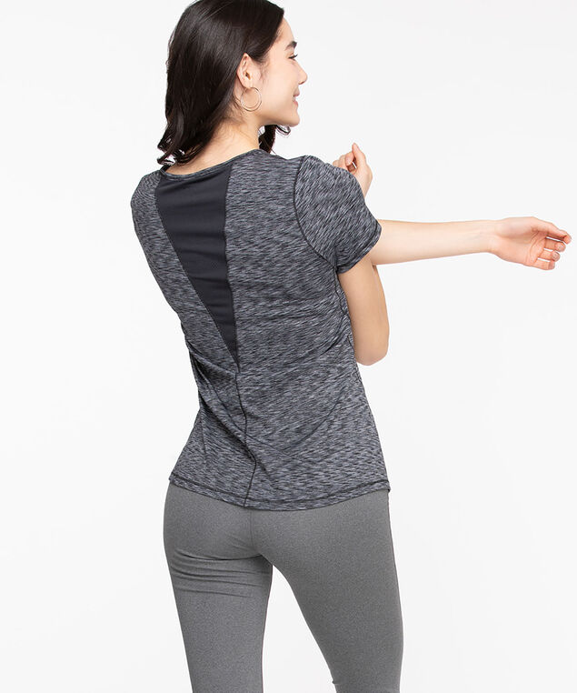 Mesh Back Activewear Tee, Black Mix