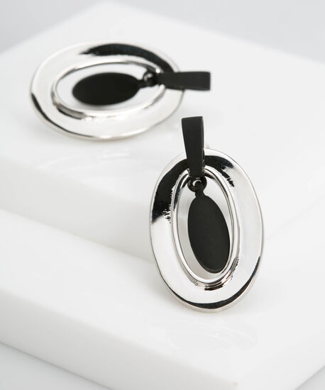 Metal Ring & Matte Teardrop Earring, Black/Rhodium, hi-res