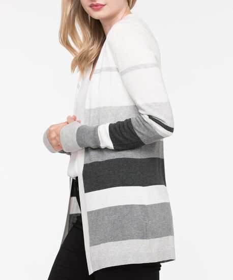 Wide Stripe Open Cardigan, Pearl/Grey, hi-res