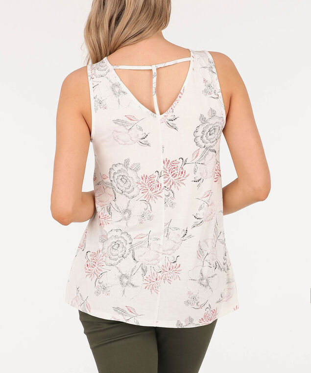 Sleeveless T-Back V-Neck Top, Ivory/Coral/Black, hi-res
