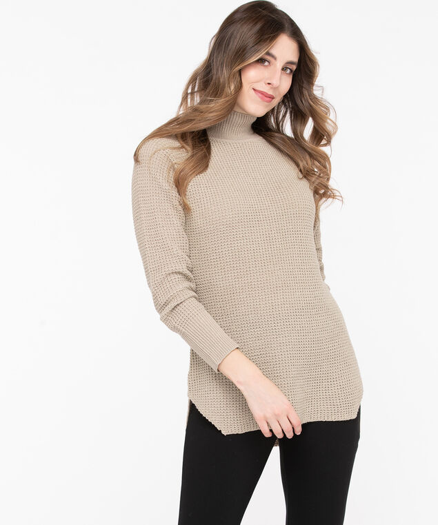 Mock Neck Tunic Sweater, Sand, hi-res