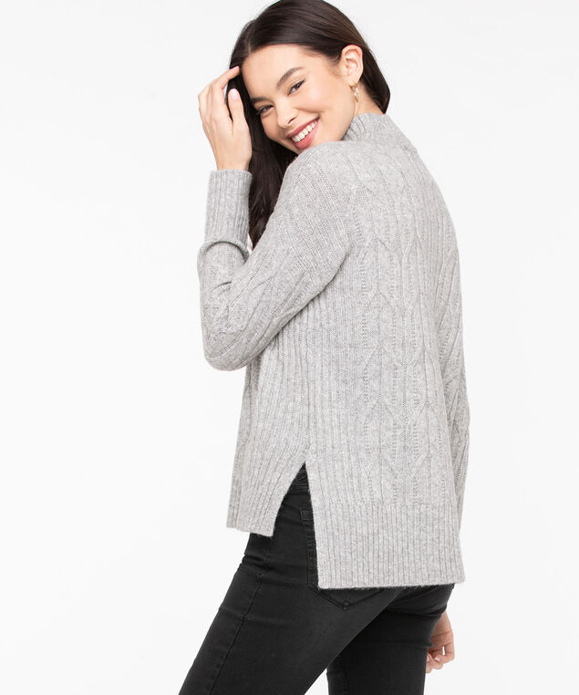 Cable Knit Mock Neck Sweater, Grey