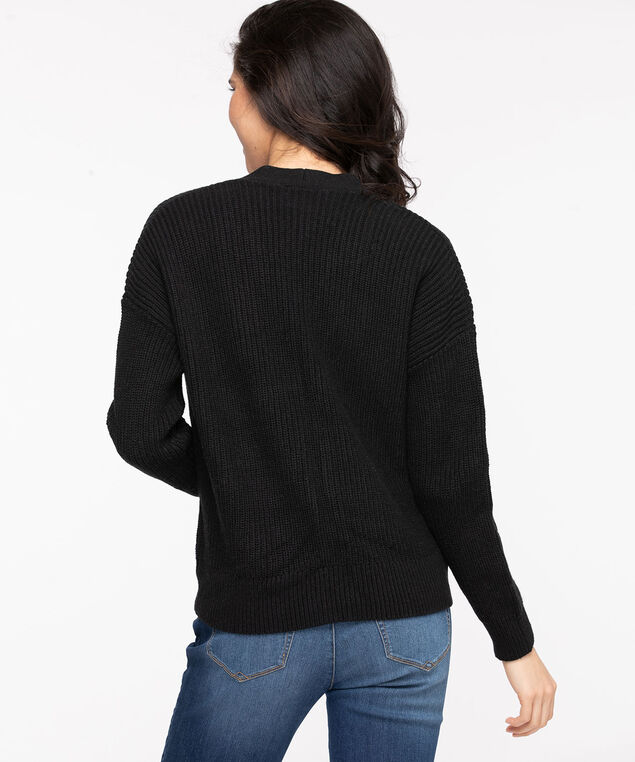 Ribbed Knit Button Front Cardigan, Black