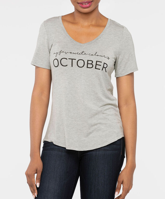 October Favourite Graphic Tee, Light Heather Grey, hi-res