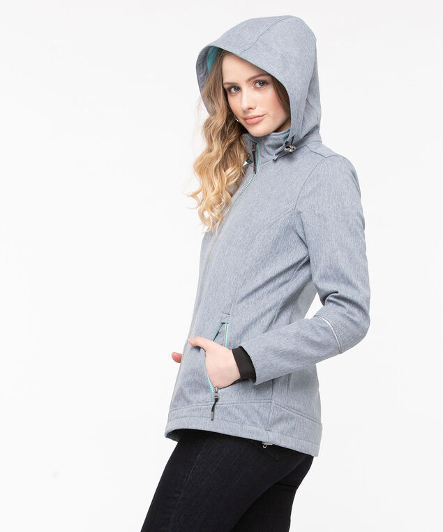 Soft Shell Exposed Zip Jacket, Mid Heather Grey/Sky Blue, hi-res