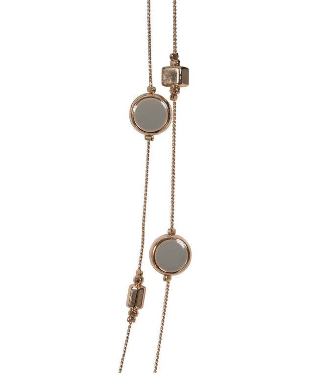 Stationed Epoxy Bead Necklace Set, Grey/Rose Gold, hi-res